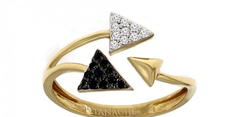 Tanaché, Al Maliha Ring yellow gold black & white diamonds, AED 950