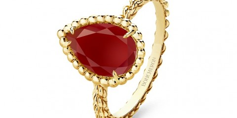 Serpent Bohème S motif ring set with cornelian