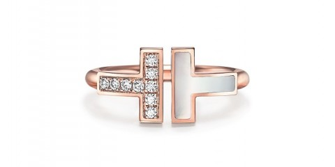Tiffany T diamond and mother-of-pearl square ring in 18k rose gold[1][1]