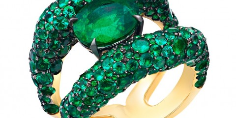 80RG1594 Emotion Charmeuse Emerald Ring