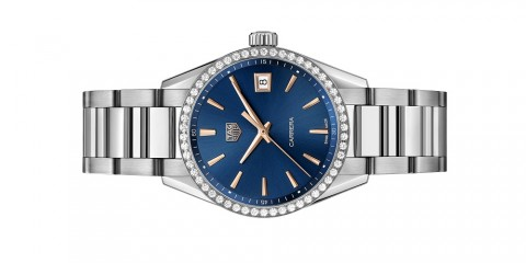 Carrera Lady in stainless steel, diamonds and blue dial