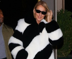 EXCLUSIVE: Celine Dion Channels Cruela De Ville In A JOSEPH White Betty Striped Lamb Coat As She Leaves Electric Lady Studios And Dines At Cipriani Dolce In NYC
