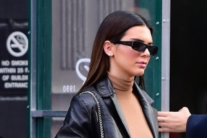 Kendall Jenner Flashes Her Toned Abs As She Hits The Streets Of New York In Black Leather Ensemble
