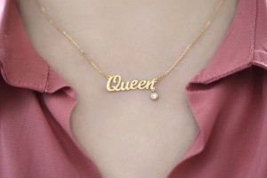 Queen Necklace with Diamond Drop - 470AED