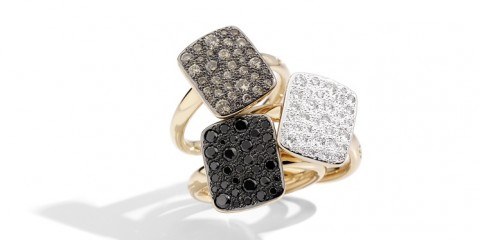 Sabbia rings with brown, white, black by Pomellato